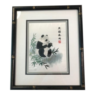 Asian Inspired Framed Panda Stitched on Silk Fabric For Sale