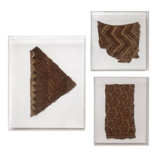 Group of Three Framed Pre-Columbian Textile Fragments For Sale
