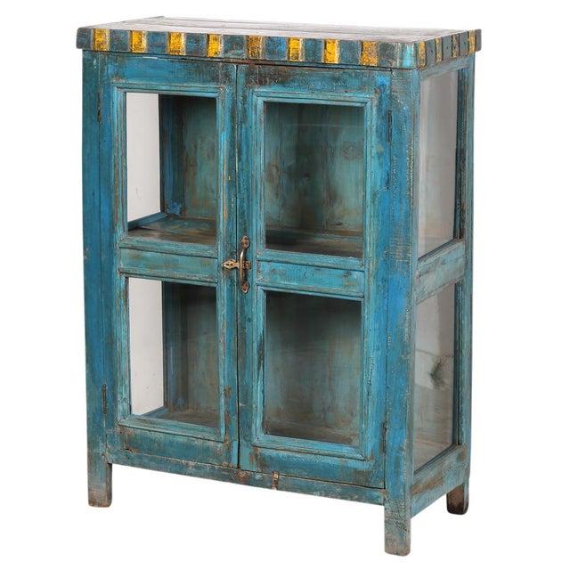 Blue Yellow Display Cabinet Chairish