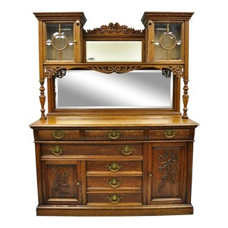 Antique French Victorian Carved Oak Sideboard Buffet Hutch Mirror China Cabinet For Sale
