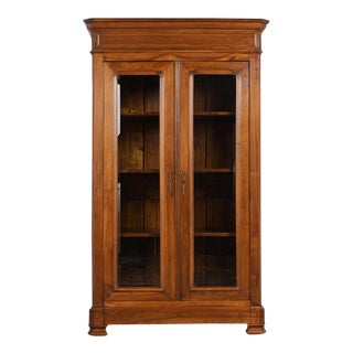 Traditional French Double Door Louis Philippe Style Bookcase For Sale