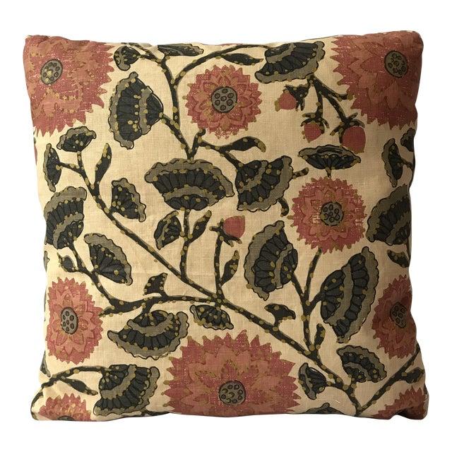 Custom Linen Floral Print Decorative Pillow For Sale