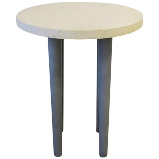 Postmdern Stone and Leather Round Side or Drinks Table For Sale