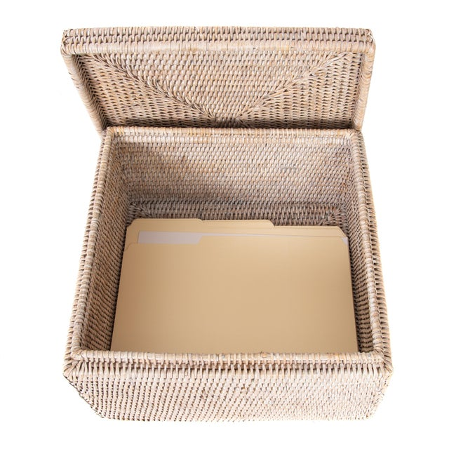 2010s Artifacts Rattan File Box With Lid For Sale - Image 5 of 6