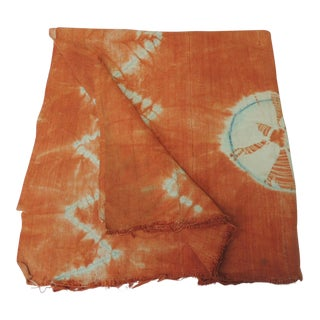 Vintage Orange African Tie-Dyed Reversible Yoruba Artisanal Cloth For Sale
