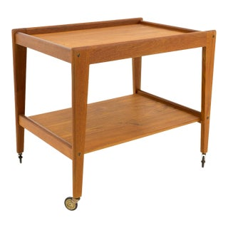 Vintage Mid Century Modern Danish Teak Rolling Tea Bar Cart For Sale