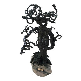 1960s Brutalist Bronze Tree Sculpture For Sale