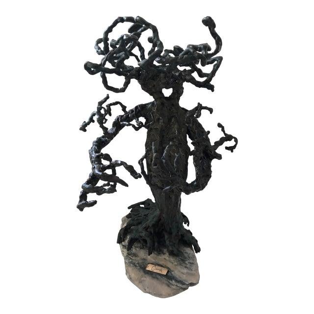 1960s Brutalist Bronze Tree Sculpture For Sale