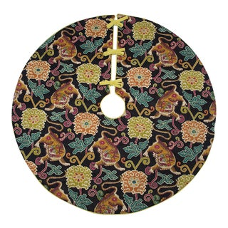 Black, Purple and Chartruse Tiger Woven Tree Skirt With Green Back For Sale