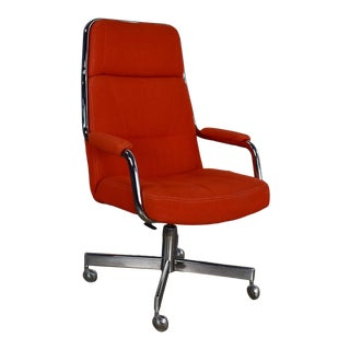 Modern Chromcraft Adjustable Armed High Back Rolling Office Chair in Orange Hopsack Fabric For Sale
