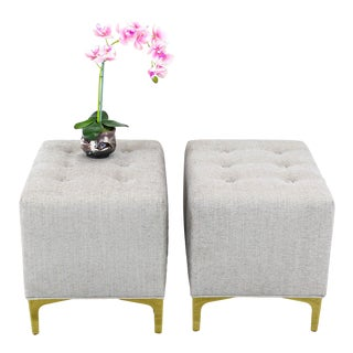 Cream Chenille Ottoman on Brass Feet, of Cream Ottomans, Cream Benches - a Pair For Sale