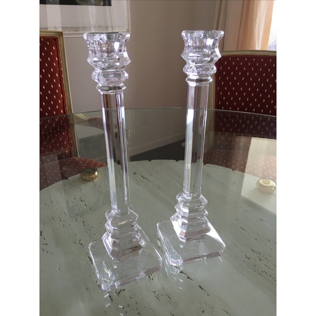 These sensational Val St. Lambert crystal candlesticks are in excellent condition, with minor scratches under the base...