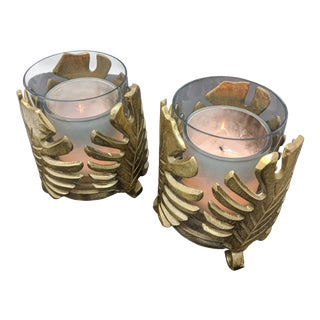 Michael Aram Inspired Palm Leaf Candle Holders - a Pair (2) For Sale