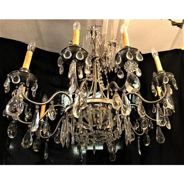 Vintage Ten Arm Nickel and Crystal Chandelier For Sale - Image 11 of 13