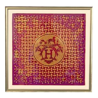 Hermès Vintage Mosaique Au 24 Silk Pocket Square Framed Art For Sale