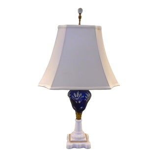 19th Century Oil Lamp With Cobalt Blue Font and Milk Glass Base For Sale