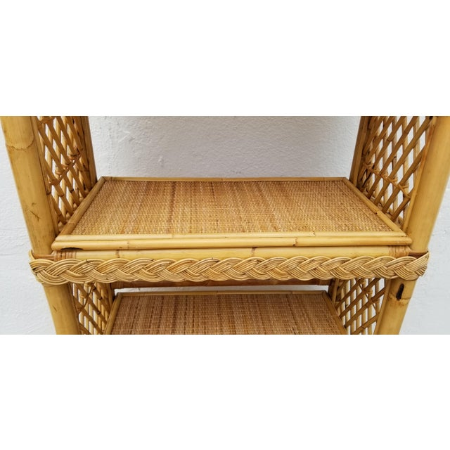 Vintage Boho Chic Bamboo Rattan Etagere Bookshelf For Sale In Miami - Image 6 of 10