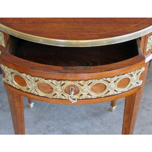Elegant French Louis XVI Style Mahogany Circular Side Table With Brass Mounts For Sale - Image 4 of 7