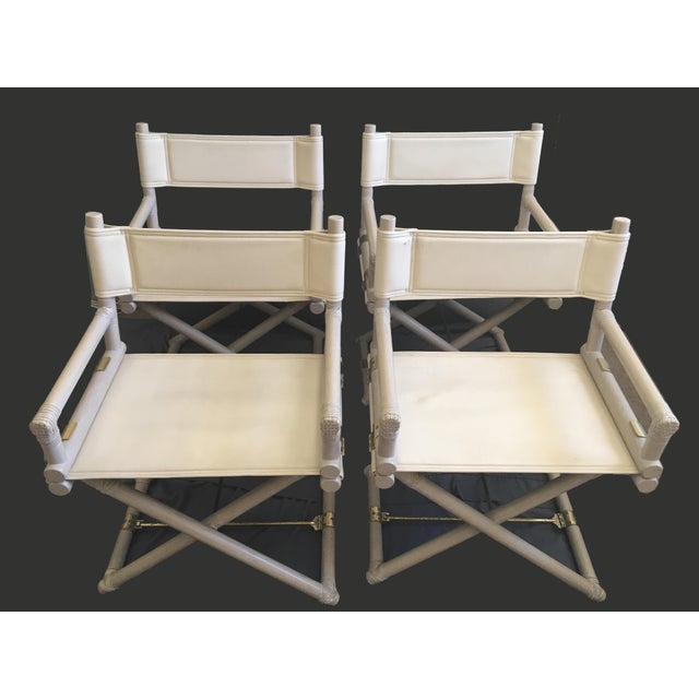 White 1950s Vintage McGuire Safari Leather and Brass Directors Chairs-Set of 4 For Sale - Image 8 of 8