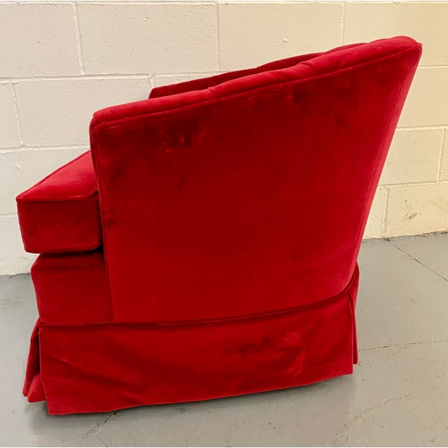 1960s 1960s Vintage Red Velvet Button Tucked Arm Chair For Sale - Image 5 of 9