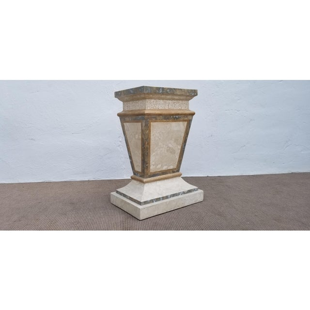 Stone 1980s Vintage Maitland Smith Tessellated Stone Pedestal For Sale - Image 7 of 9