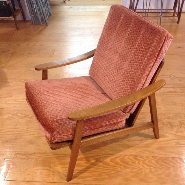Vintage Mid-Century Oak & Burnt Orange Arm Chair - Image 2 of 9