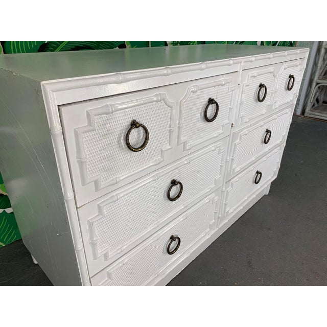 Faux Bamboo Double Dresser by Omega For Sale - Image 4 of 10