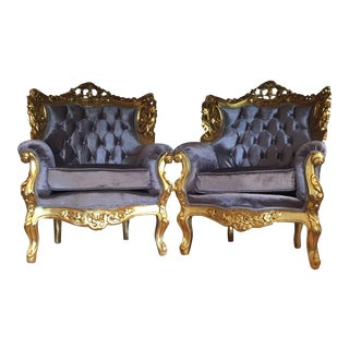 Gilded Purple Velvet Upholstered Chairs - A Pair