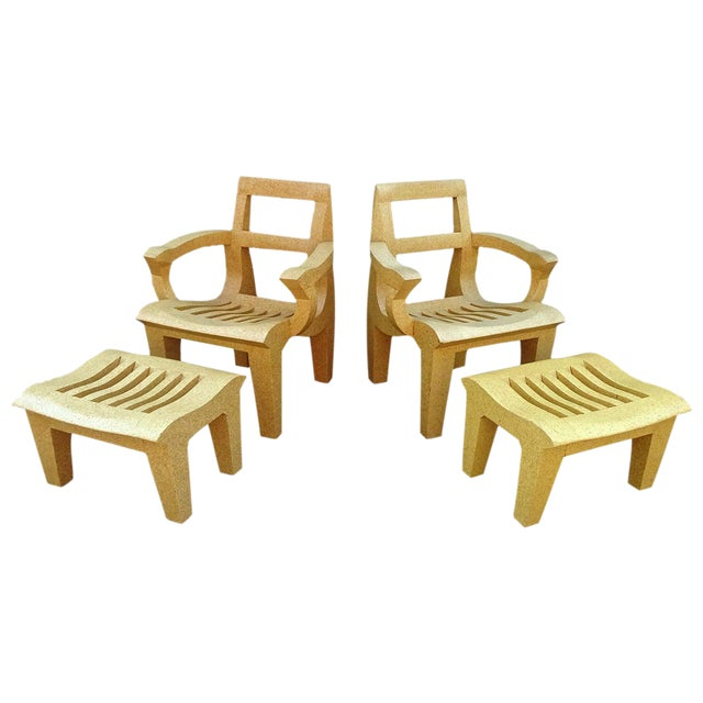 Kevin Walz Solid Cork Lounge Chairs and Ottomans, 1998 - 4 Pieces For Sale