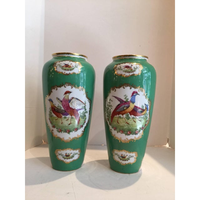 Ceramic 19th Century Victorian Porcelain Chelsea Bird Pattern Vases - a Pair For Sale - Image 7 of 9