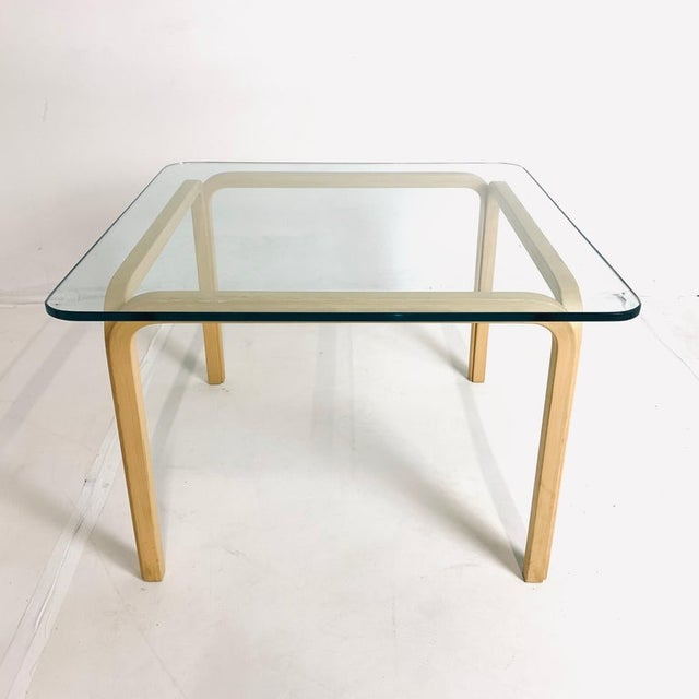 Transparent Alvar Aalto Artek Glass & Bentwood Birch Coffee or Cocktail Tables - a Pair For Sale - Image 8 of 9