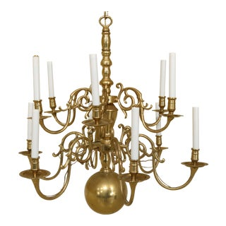 Virginia Metalcrafters Attributed Colonial Style Brass Chandelier For Sale
