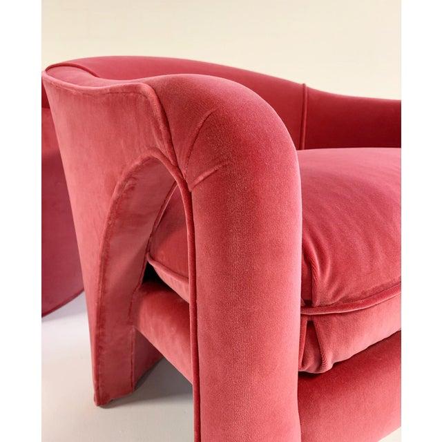 Pink Vintage Vladimir Kagan Style Lounge Chairs Restored in Loro Piana Pink Velvet - Pair For Sale - Image 8 of 9