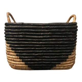 West Elm Woven Seagrass Basket For Sale