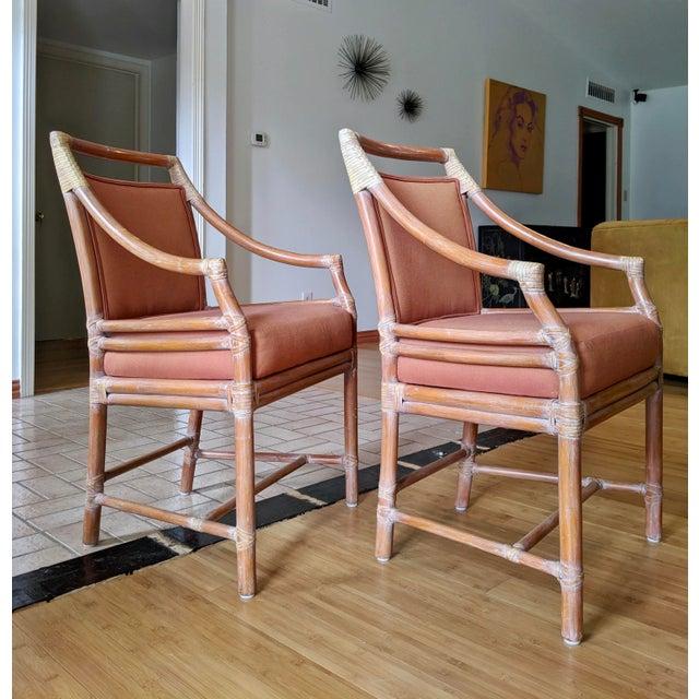 Orange 1970s Vintage McGuire Rattan Armchairs- Set of 4 For Sale - Image 8 of 12
