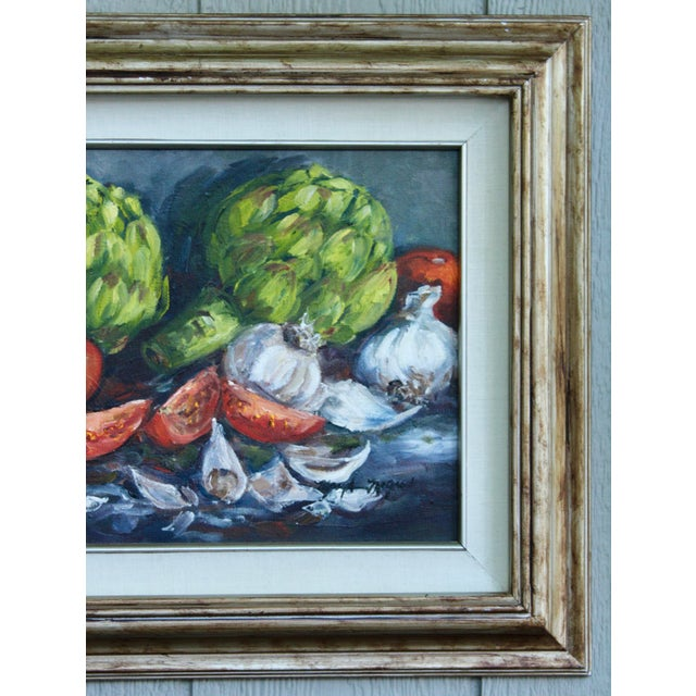Italian Artichoke Vegetable Still Life Original Oil Painting For Sale - Image 3 of 11