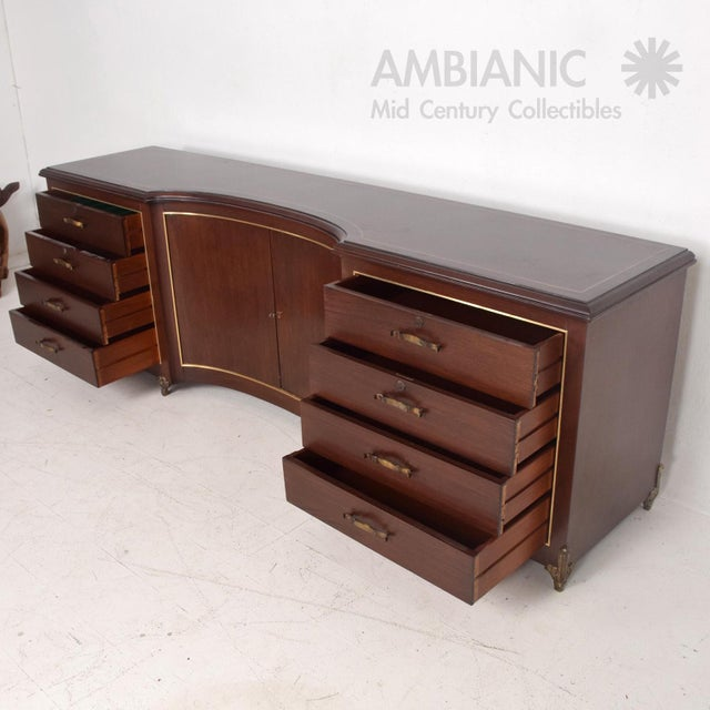 Mexican Modernist Mahogany and Bronze Credenza Dresser Attributed Arturo Pani For Sale - Image 10 of 10