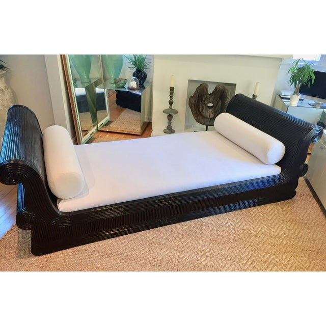 Exotic Asian Split Dark Dyed Reed Rattan Daybed For Sale In Los Angeles - Image 6 of 13