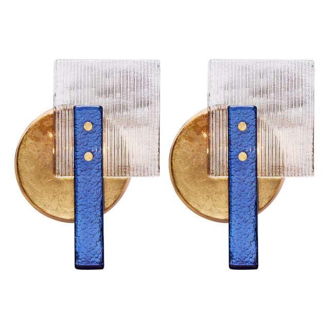 Murano Glass Cobalt and Gold Sconces For Sale - Image 10 of 10