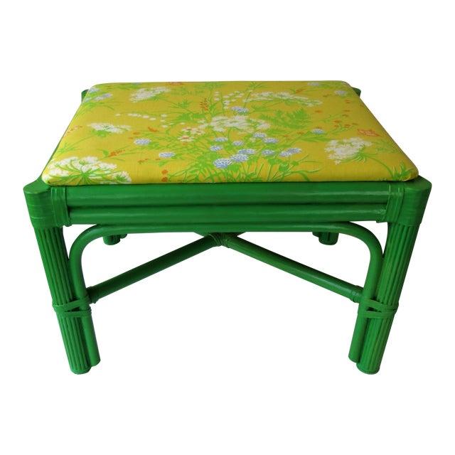 Mid-Century Green Rattan Footstool - Image 1 of 8