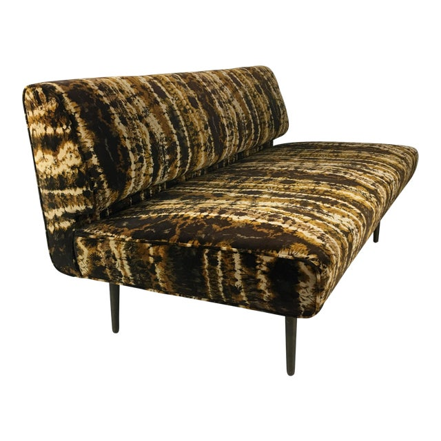 Sofa or Bench With Brass Legs by Edward Wormley for Dunbar-Larsen Velvet For Sale