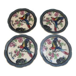 English Burslem Keeling Co Laso Ware Parrot Blue Plates- Set of 4 For Sale