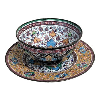 Vintage Minakari Persian Bowl and Plate For Sale