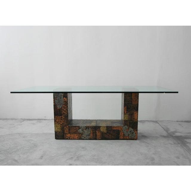 Brutalist Brutalist Metal Patchwork Pedestal Dining Table by Paul Evans For Sale - Image 3 of 8