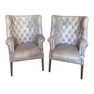 Modern Sarreid Taupe Tufted Leather Chairs- A Pair For Sale