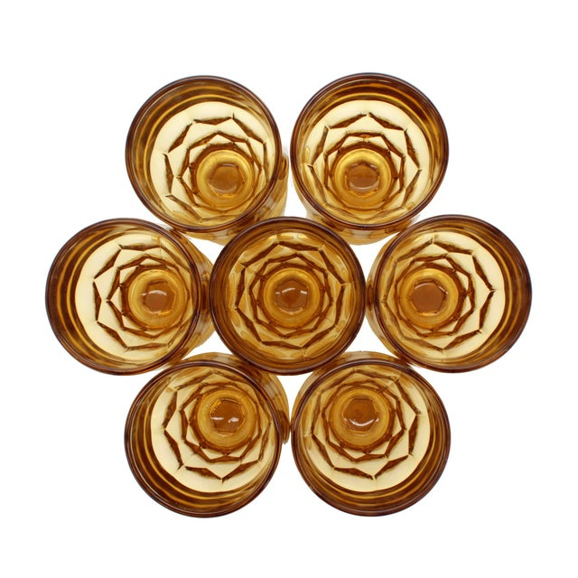Anchor Hocking Vintage Amber GlassThumbprint Amber Footed Tumblers - Set of 7 For Sale - Image 4 of 5