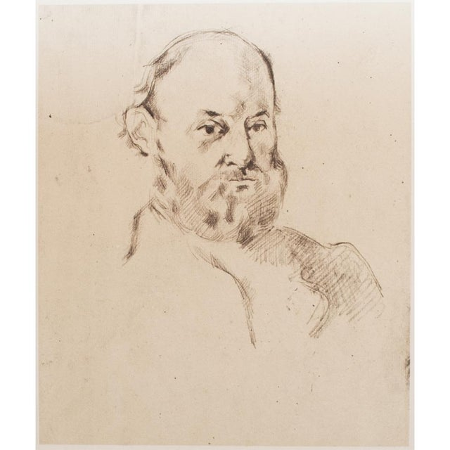 "Large and excellent vintage photogravure after pencil Self-Portrait by Paul Cézanne. Original piece is 11 and 13/16"" H x 9..."
