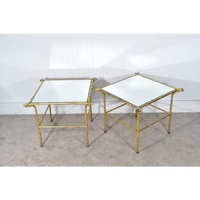 Pair Vintage Italian Hollywood Regency Faux Bamboo Gold Gilt Mirror Side Tables For Sale - Image 4 of 12