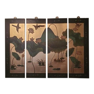 Maitland Smith Asian Byobu Lacquer Wall Screen For Sale