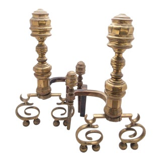 American Federal Brass Andirons - A Pair